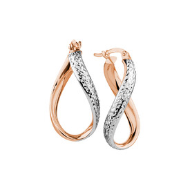 Hoop Earrings in 10ct Rose & White Gold
