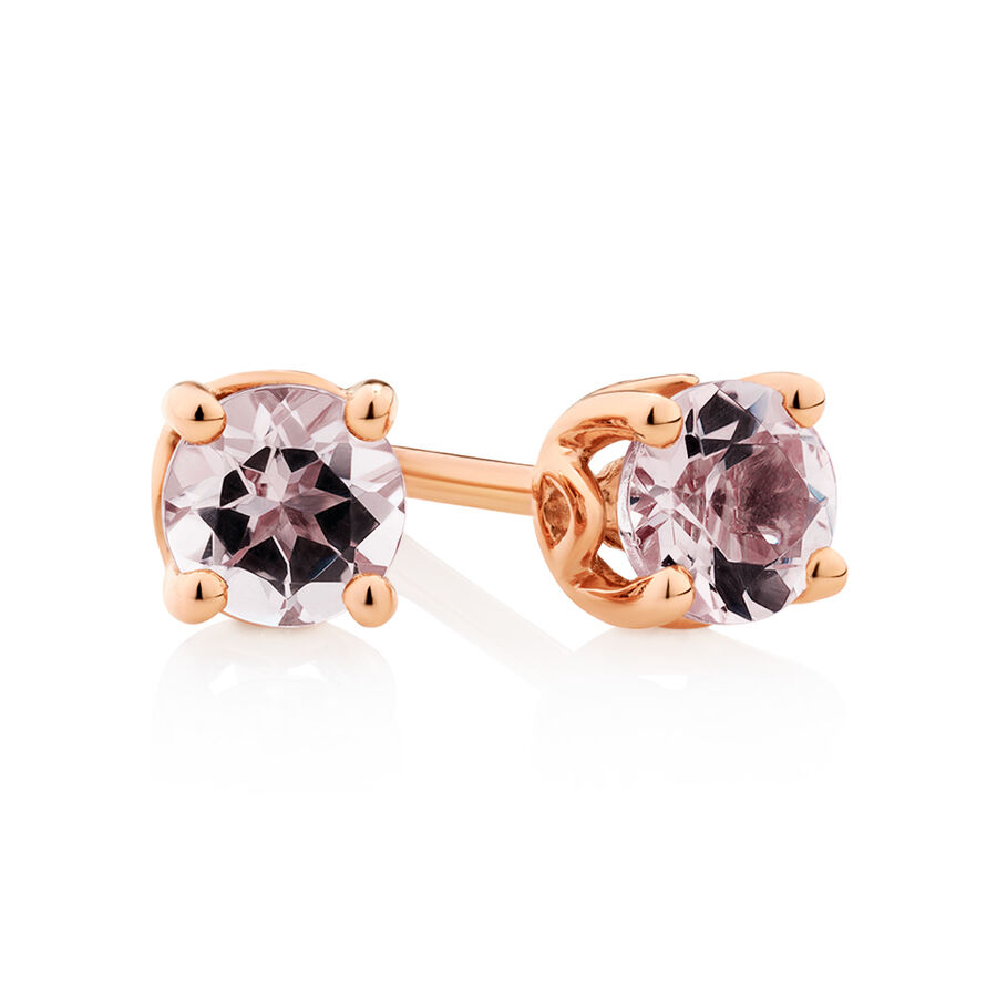 4mm Stud Earrings with Morganite in 10ct Rose Gold