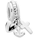 Sterling Silver 'Faith Hope & Charity' Charm