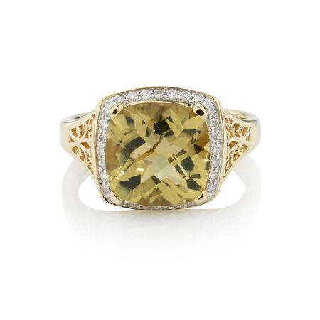 Online Exclusive - Ring with 0.14 Carat TW of Diamonds & Quartz in 10ct Yellow Gold