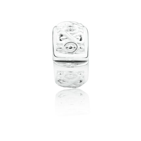 Infinity Stopper Charm with Cubic Zirconia in Sterling Silver