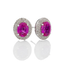 Online Exclusive - Halo Earrings with Created Pink Sapphire & 0.39 Carat TW of Diamonds in 10ct White Gold