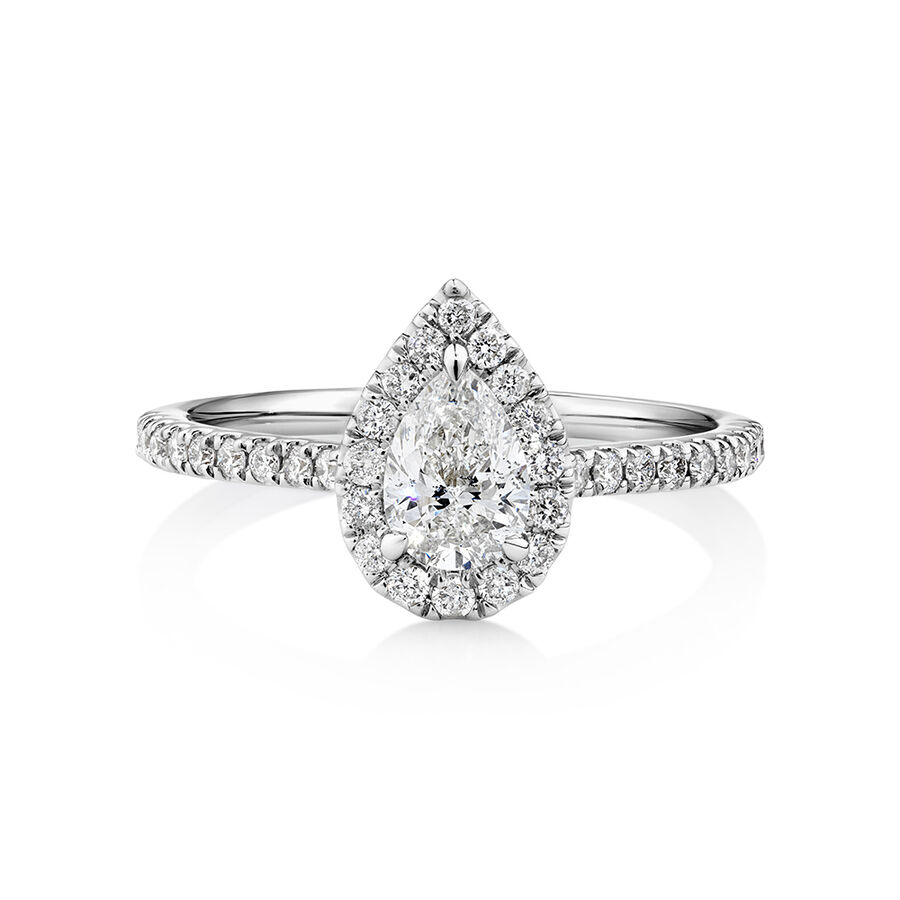 Halo Pear Engagement Ring with 0.92 Carat TW of Diamonds in 14ct White Gold