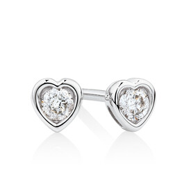 Heart Stud Earrings with Diamonds in Sterling Silver