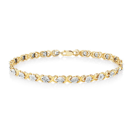 Bracelet with 1/4 Carat TW of Diamonds in 10ct Yellow & White Gold