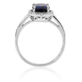 Ring with Created Sapphire & Diamonds in 10ct White Gold