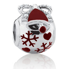 Bauble Charm with Red Enamel & Cubic Zirconia in Sterling Silver