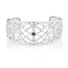Online Exclusive - Cuff with White & Enhanced Blue Diamonds in Sterling Silver