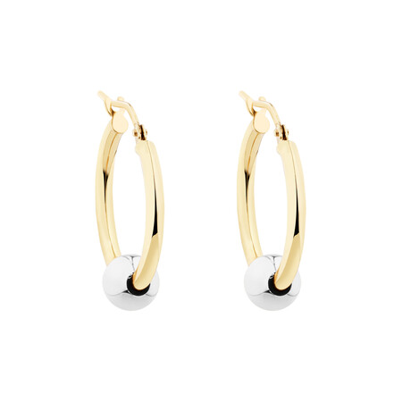 Ball Hoop Earrings in 10ct Yellow & White Gold