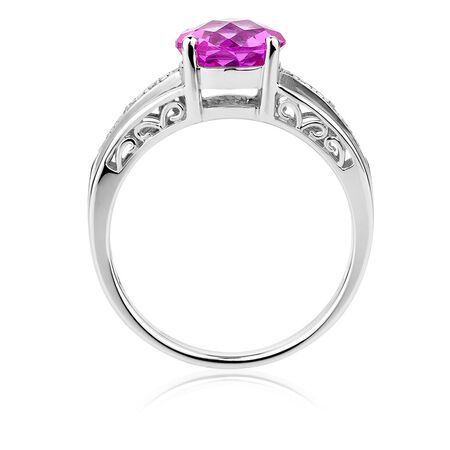 Ring with Created Pink Sapphires & Diamonds in Sterling Silver