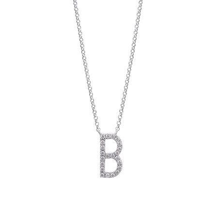 """B"" Initial necklace with 0.10 Carat TW of Diamonds in 10ct White Gold"