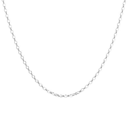 "60cm (24"") Oval Belcher Chain in Sterling Silver"
