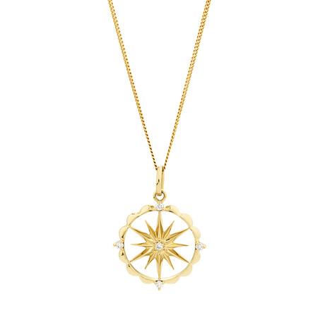 Star Talisman Pendant with Diamonds in 10ct Yellow Gold