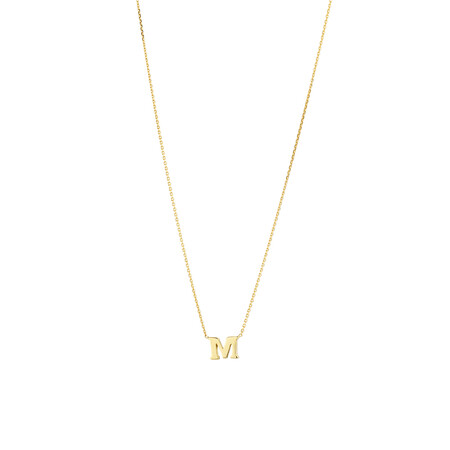 """""""M"""" Initial Necklace in 10ct Yellow Gold"""