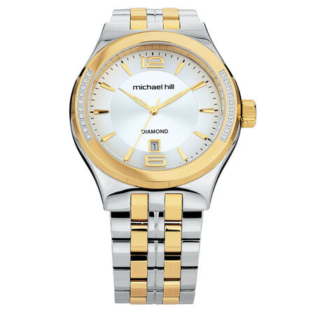 Men's Watch with Diamonds in Silver & Gold Tone Stainless Steel