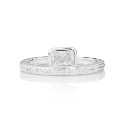 Online Exclusive - Geometric Stacker Ring with Cubic Zirconia in Sterling Silver