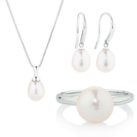 Earring, Pendant & Ring Boxed Set with Cultured Freshwater Pearl in Sterling Silver