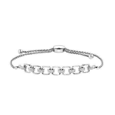 Bolo Bracelet With Diamonds In Sterling Silver | Tuggl