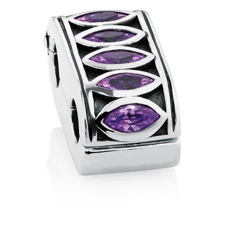 Purple Cubic Zirconia & Sterling Silver Fancy Double Stopper