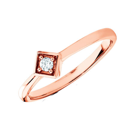 Promise Ring with a Diamond in 10ct Rose Gold