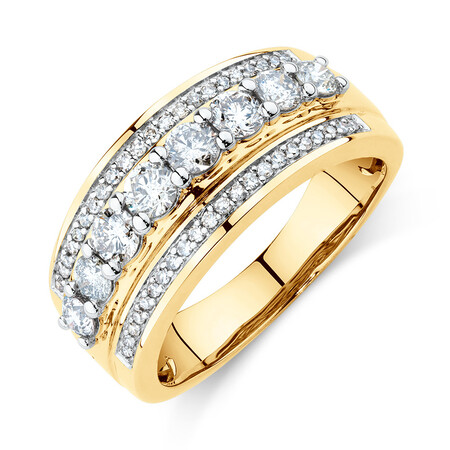Three Row Ring with 1 Carat TW of Diamonds in 10ct Yellow Gold