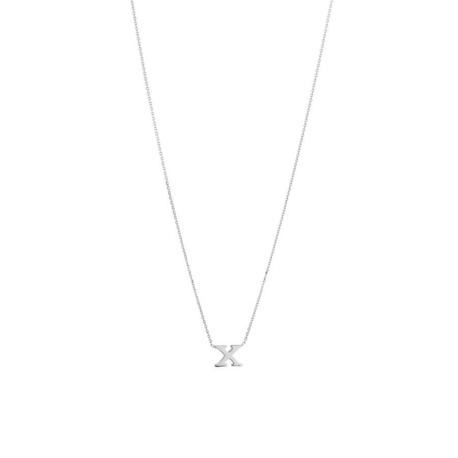 'X' Initial Necklace in Sterling Silver