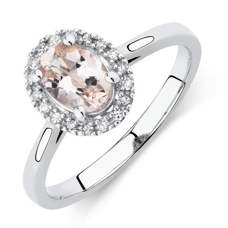 Ring with Morganite & Diamonds in 10ct White Gold