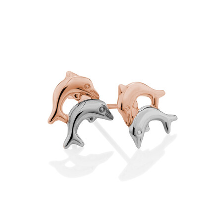 Dolphin Stud Earrings in 10ct Rose & White Gold