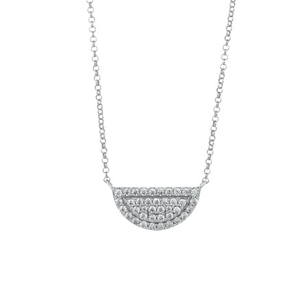 Half Circle Necklace with Cubic Zirconia in Sterling Silver