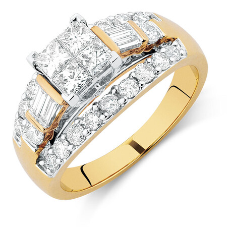 Engagement Ring with 1 3/4 Carat TW of Diamonds in 14ct Yellow & White Gold