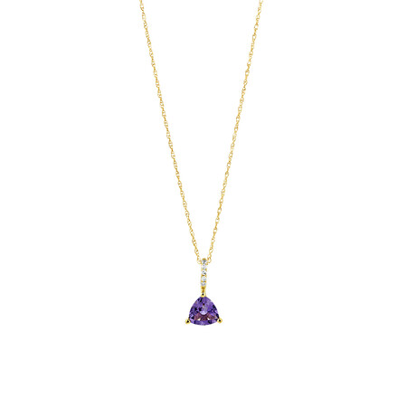 Amethyst Drop Pendant with Diamonds in 10ct Yellow Gold