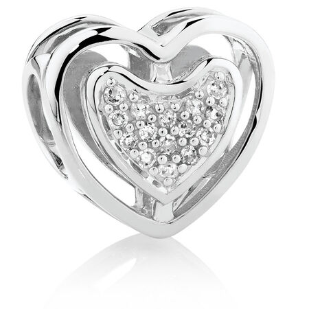 Diamond Set Sterling Silver Heart Charm