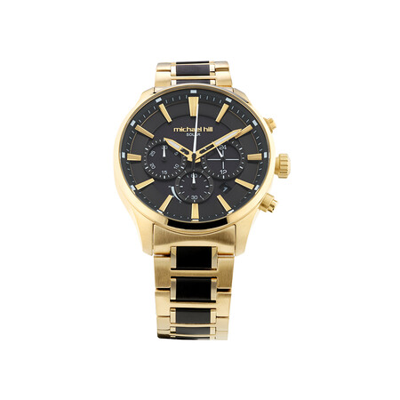 Solar Powered Men's Watch with Gold and Black Tone in Stainless Steel