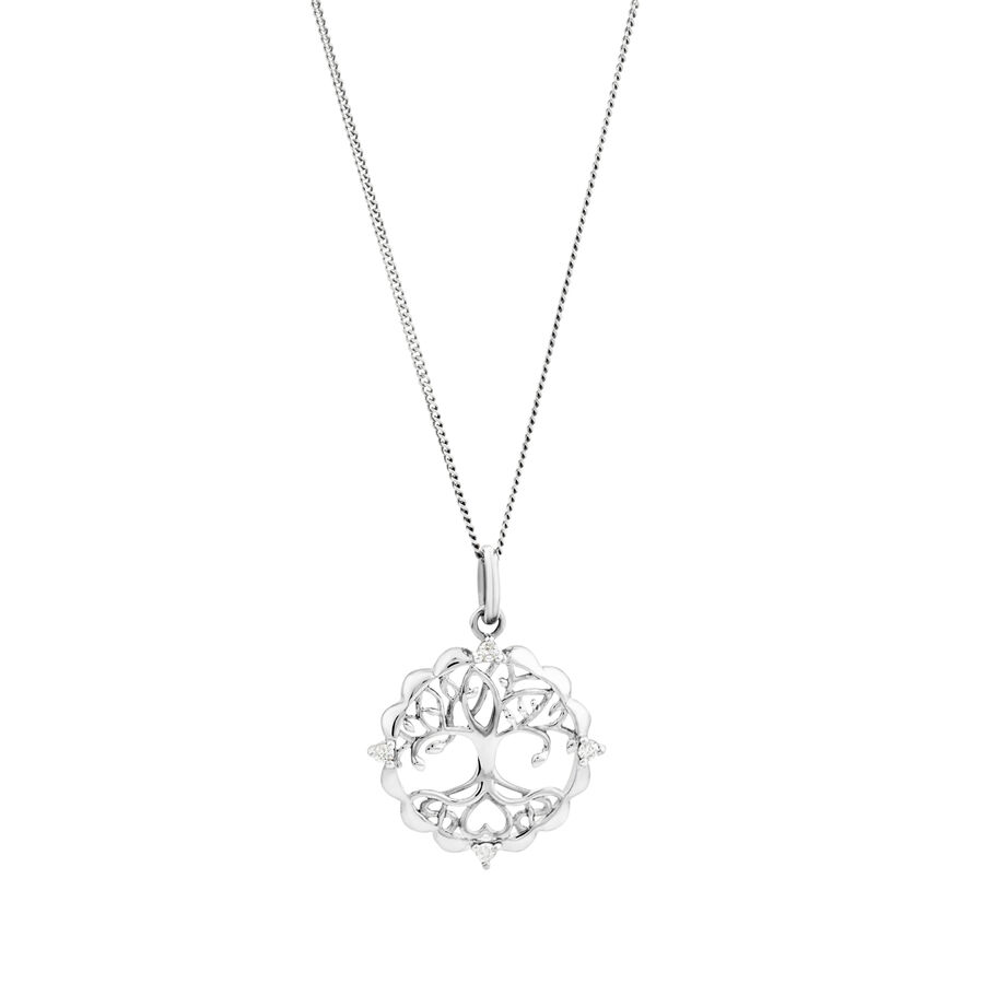 Tree of Life Talisman Pendant with Diamonds in Sterling Silver