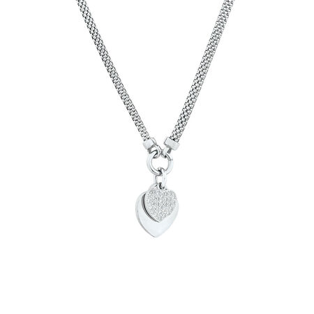 """45cm (18"""") Double Heart Necklace in Sterling Silver"""