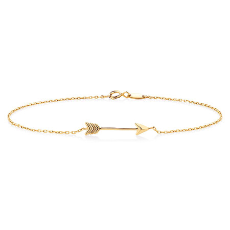"19cm (7.5"") Arrow Bracelet in 10ct Yellow Gold"