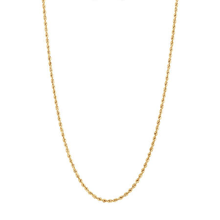 "45cm (18"") Glitter Rope Chain in 10ct Yellow Gold"