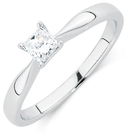 Evermore Colourless Solitaire Engagement Ring with a 0.29 Carat Diamond in 14ct White Gold