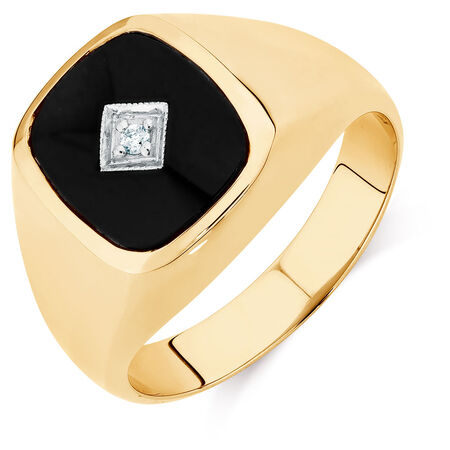 Men's Diamond Set Ring with Onyx in 10ct Yellow Gold