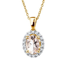 Pendant with Morganite & Diamonds in 10ct Yellow & White Gold