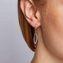 Drop Earrings in 10ct Yellow & White Gold