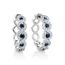 Earrings with Blue Sapphire & 0.55 Carat TW Diamonds in 14ct White Gold