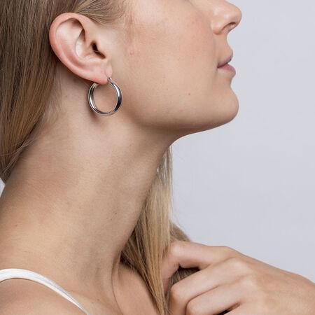 20mm Oval Hoop Earrings in Sterling Silver