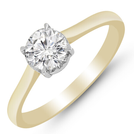 Ring with 0.70 Carat TW of Diamonds in 10ct Yellow Gold