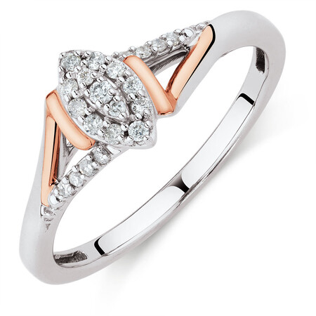 Promise Ring with 0.12 Carat TW of Diamonds in Sterling Silver & 10ct Rose Gold