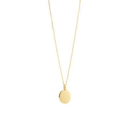 Oval Disc Pendant in 10ct Yellow Gold