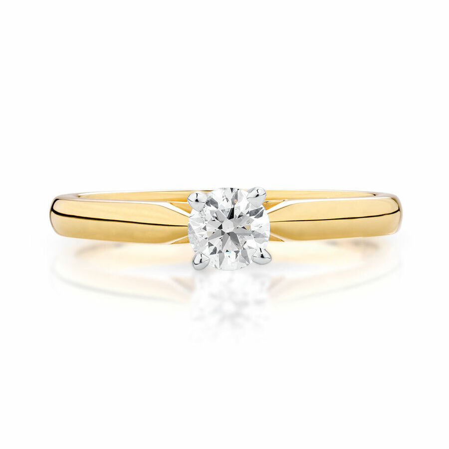 Evermore Solitaire Engagement Ring With 0.34 Carat TW Of Diamonds In 14ct Yellow & White Gold