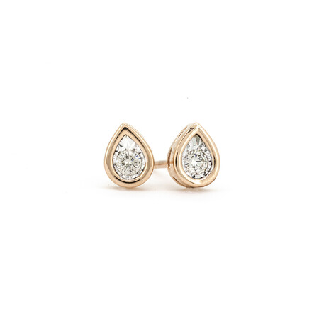 Pear Stud Earrings with Diamonds in 10ct Rose Gold