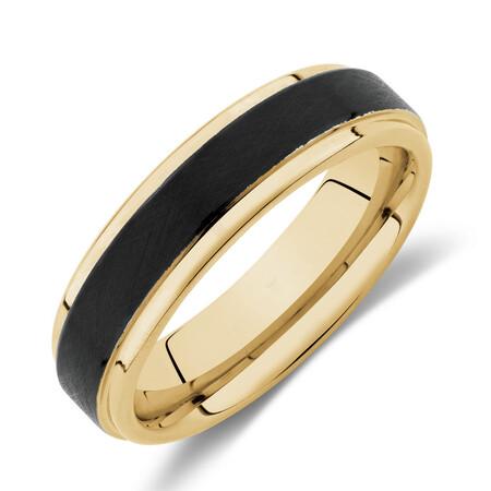6mm Ring in Yellow & Black Tungsten