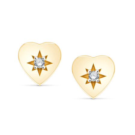 Heart Stud Earrings With Diamonds In 10ct Yellow Gold